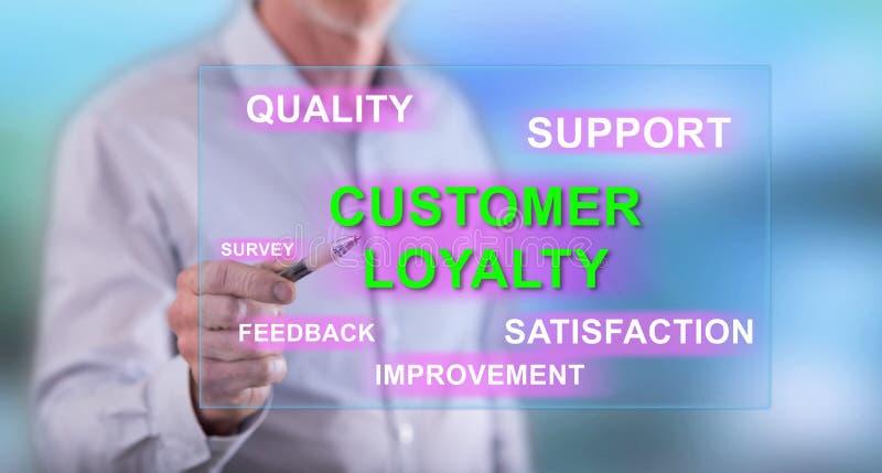 供以人员接触在触摸屏上的一个顾客忠诚概念 库存照片