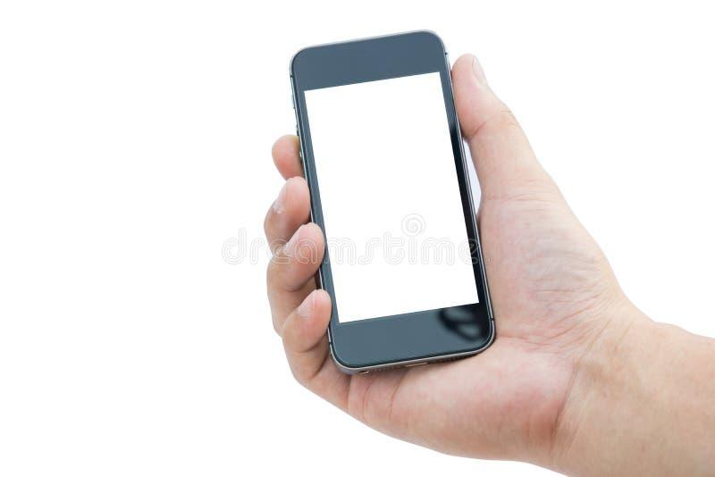 供以人员有手机的手在白色背景 免版税库存图片