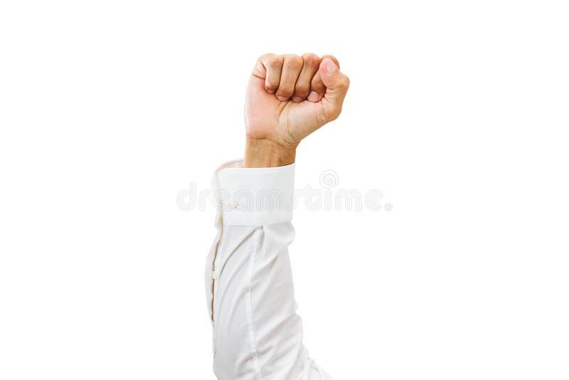 供以人员有白色在白色背景隔绝的衬衣和握紧拳头的胳膊 库存照片