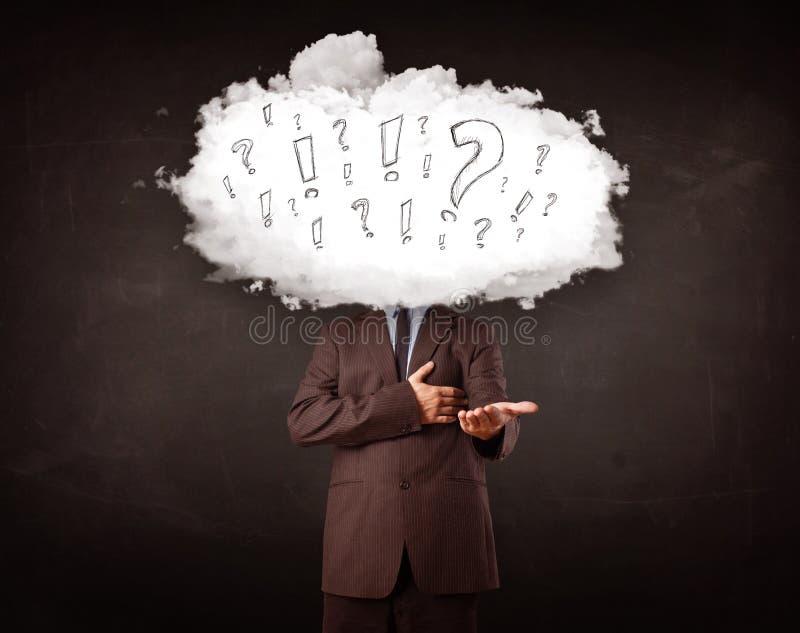 供以人员有问题和惊叹号概念的云彩头 免版税库存照片