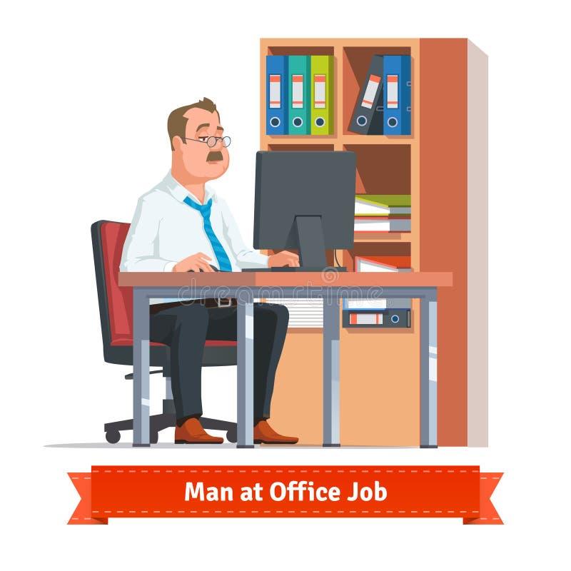 供以人员研究计算机在办公室桌上 向量例证