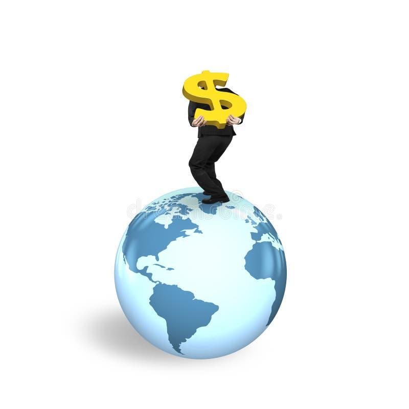 供以人员站立在地球世界地图的运载的美元的符号 向量例证