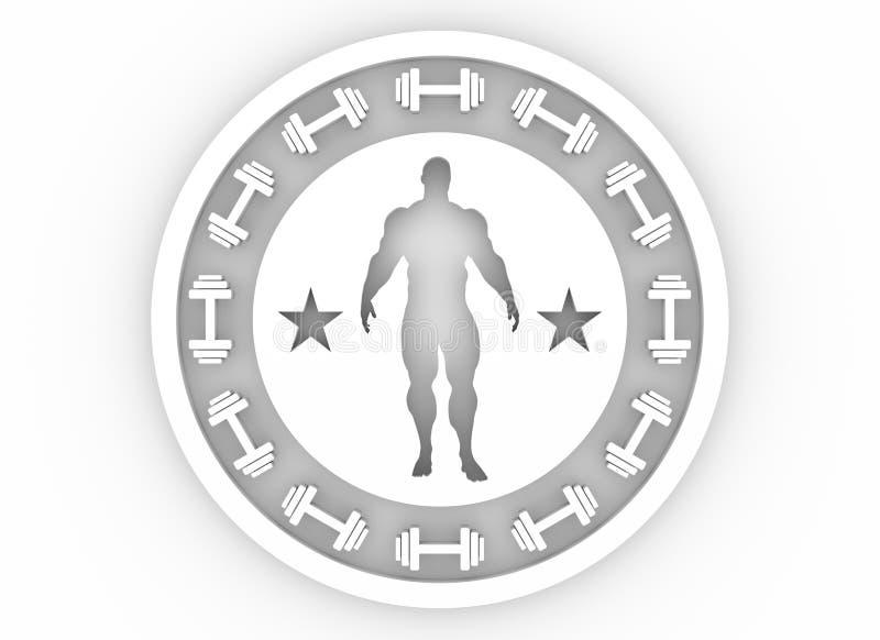 供以人员肌肉摆在 体型徽章 免版税库存照片