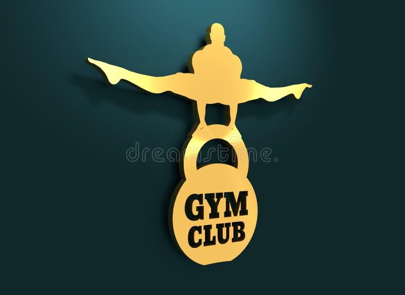 供以人员肌肉摆在 体型徽章 向量例证