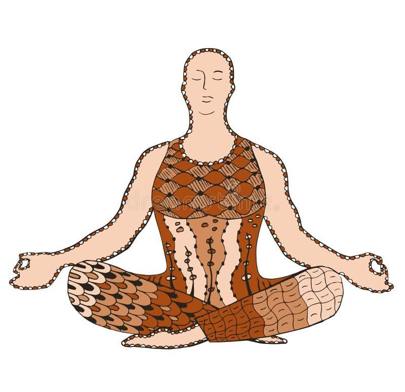 供以人员被传统化的思考的zentangle,传染媒介,例证,徒手画 皇族释放例证