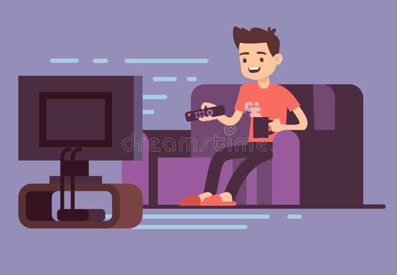 供以人员观看的电视和饮用的咖啡在沙发在本级教室内部传染媒介例证 皇族释放例证