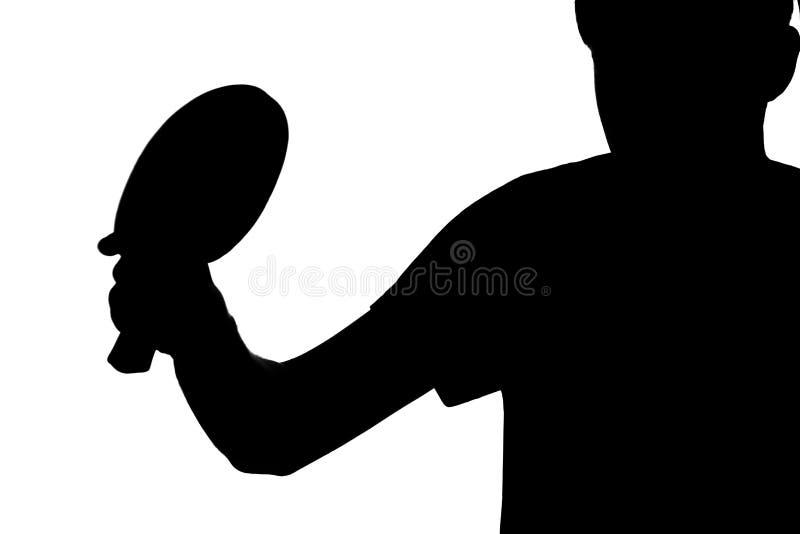 供以人员训练打在与球拍的乒乓球比赛 免版税库存照片