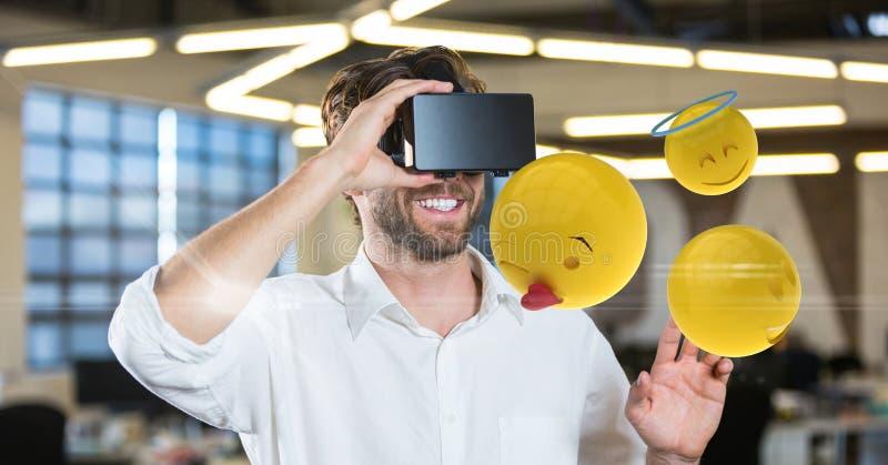 供以人员设法接触emojis,当戴VR眼镜时 库存例证