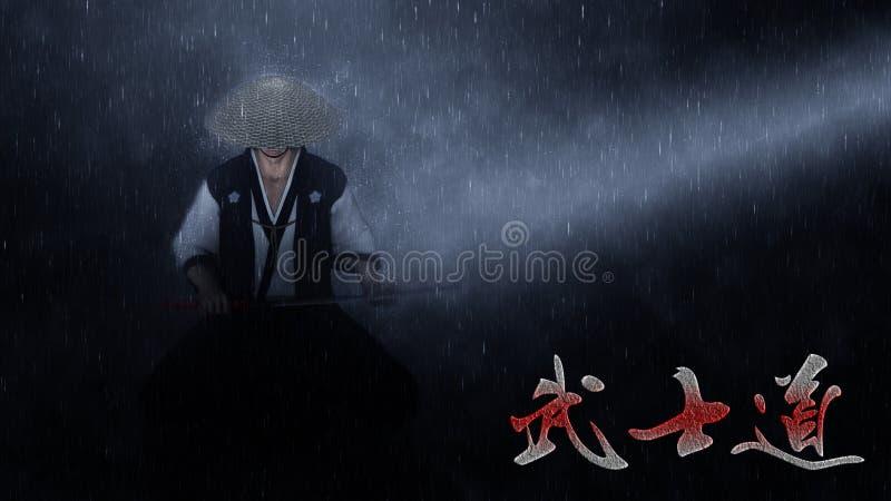 供以座位的日本武士Bushido背景例证 免版税图库摄影