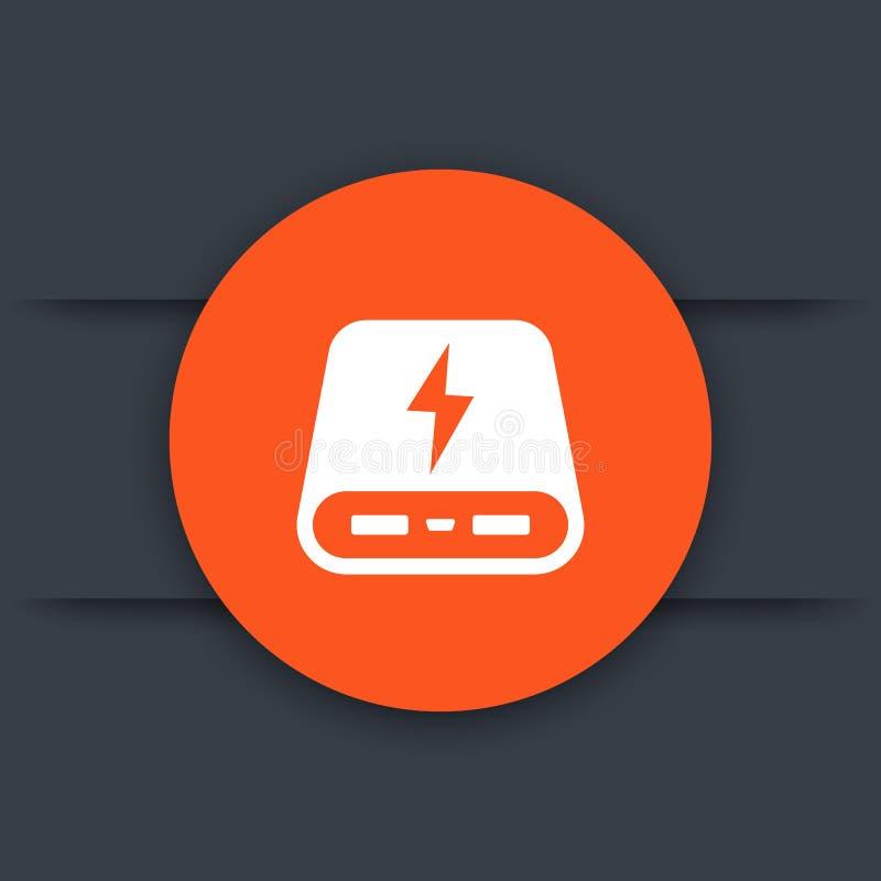 供给银行象,便携式的充电器圆的标志动力 向量例证