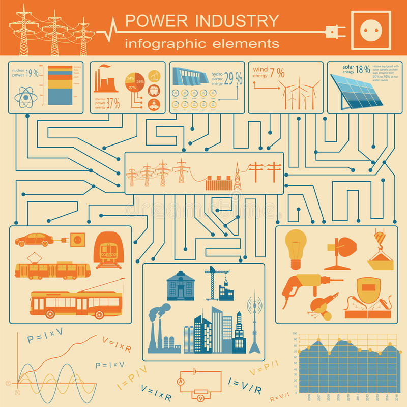 供给infographic的能源业,电系统动力,设置元素 皇族释放例证