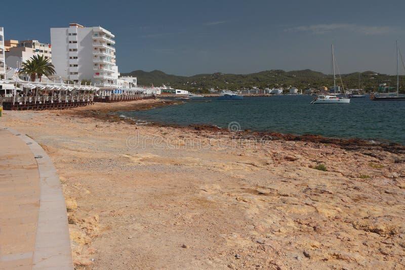 依靠在沿海圣安东尼奥,伊维萨岛,西班牙 库存照片