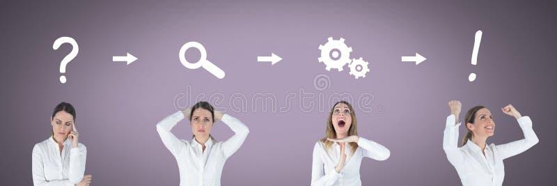 依顺序认为有想法和突发的灵感处理象的女实业家 免版税库存照片