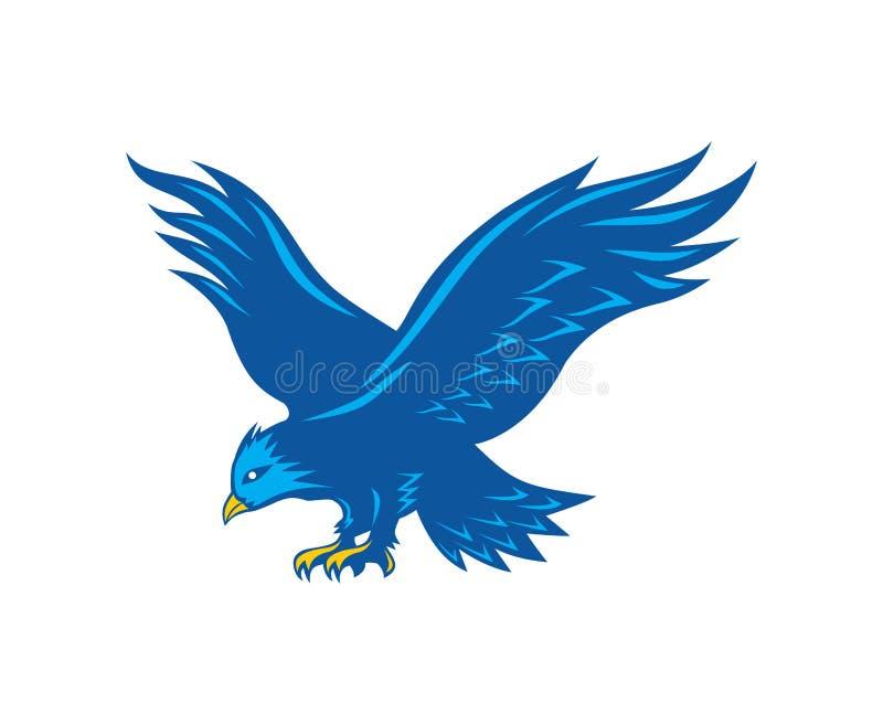 侦察蓝色的老鹰从空气的牺牲者 向量例证
