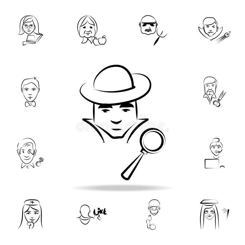 侦探具体化剪影样式象 详细的套在剪影样式象的行业 优质图形设计 一  向量例证