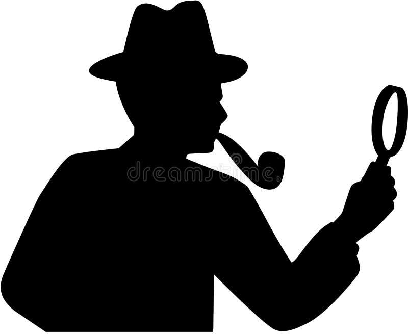 侦探剪影传染媒介 库存例证