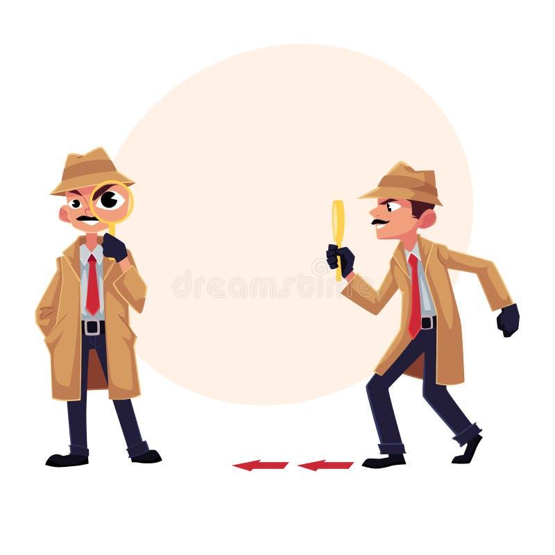 侦探字符跟随,蹑手蹑脚地走在某人以后与放大镜图片