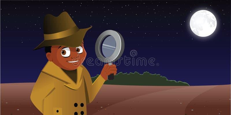 侦探孩子 库存例证