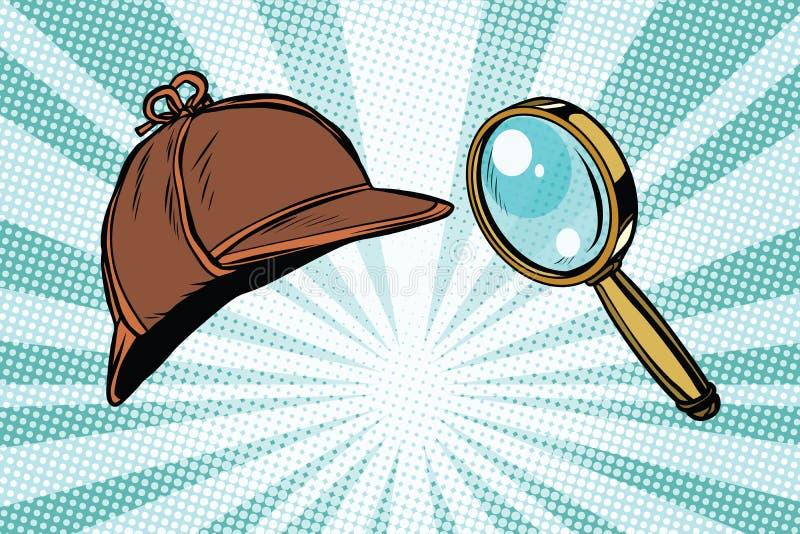 侦探帽子和放大镜 向量例证