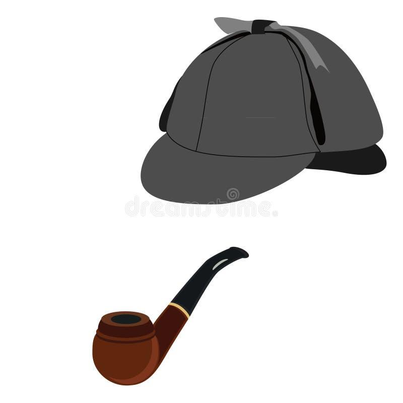 侦探帽子和管子 皇族释放例证