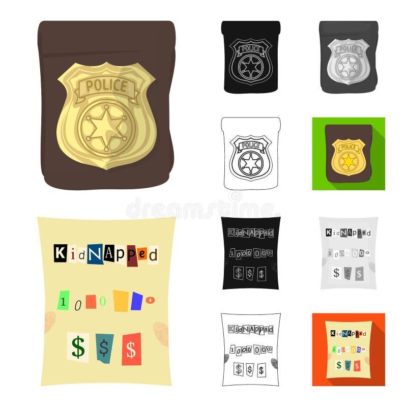侦探所动画片,黑色,平,单色,在集合汇集的概述象的设计 罪行和调查 向量例证