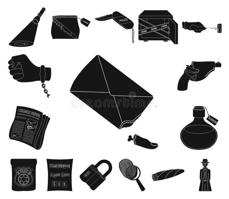 侦探所在集合汇集的黑色象的设计 罪行和调查导航标志储蓄网例证 向量例证