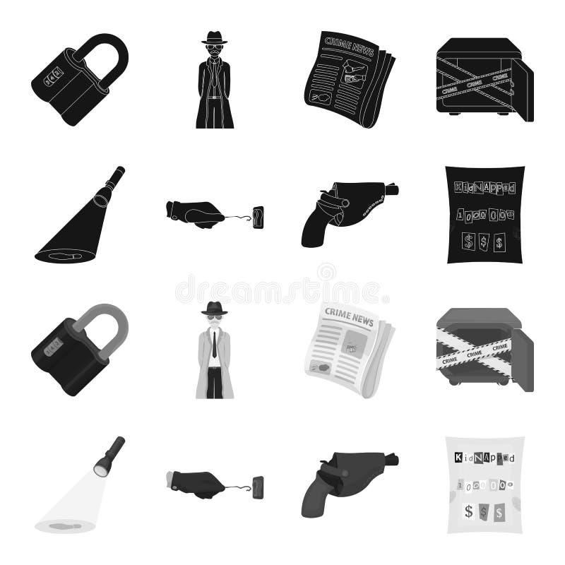 侦探手电阐明脚印,有万能钥匙的犯罪手,在手枪皮套的一把手枪, 皇族释放例证