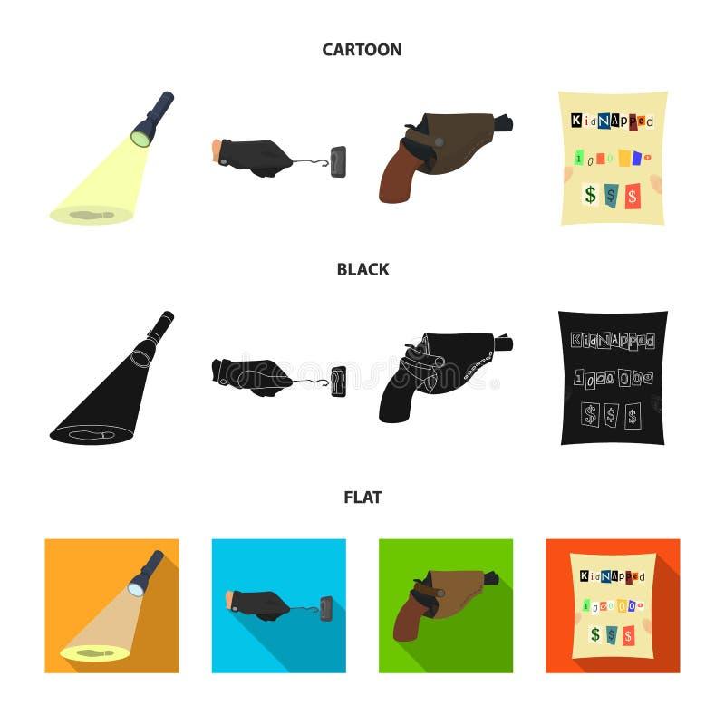 侦探手电阐明脚印,有万能钥匙的犯罪手,在手枪皮套的一把手枪, 向量例证