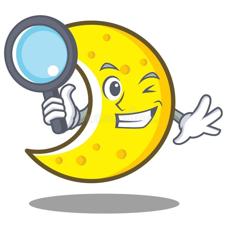 侦探新月形月亮字符动画片 皇族释放例证