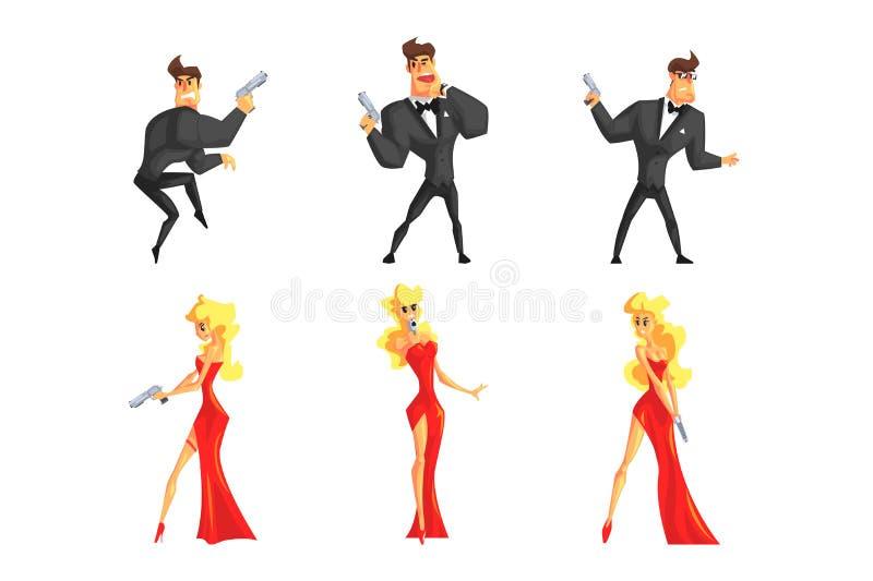 侦探用不同的姿势 帅哥和美女有枪的在手上 在黑衣服的男性,女性在性感 皇族释放例证