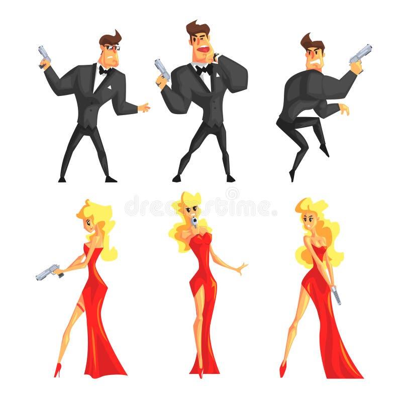 侦探用不同的姿势 英俊的男人和美丽的妇女有枪的在手上 在黑衣服的男性,女性在性感 向量例证