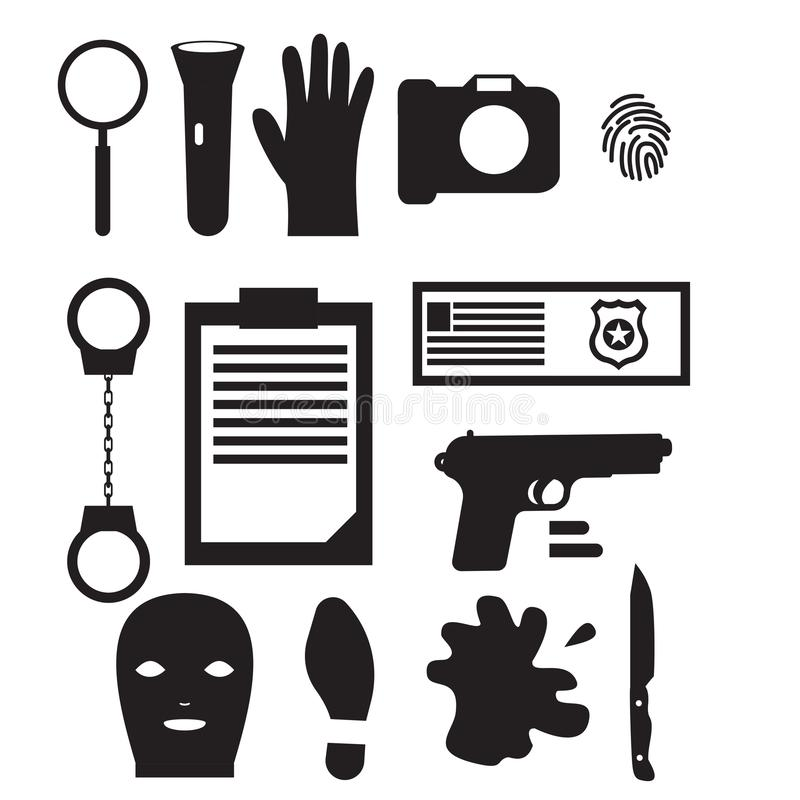侦探职业字符设计,动画片剪影黑色 警察设计元素和象 向量例证