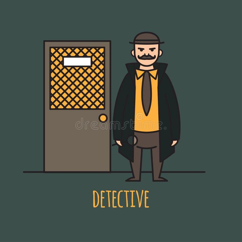 侦探职业字符设计,动画片线型 设计要素图标 人字符 皇族释放例证