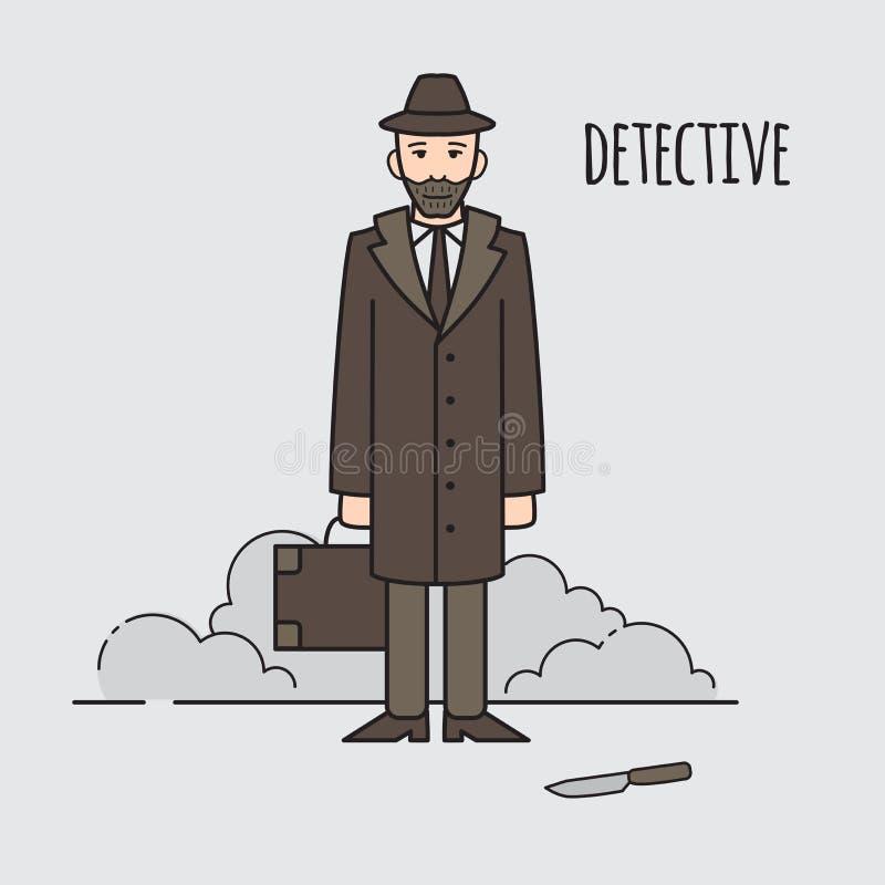 侦探职业字符设计,动画片线型 设计要素图标 人字符 向量例证