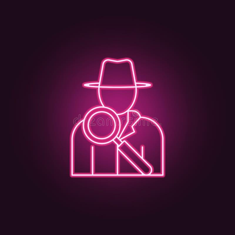 侦探象 罪行调查的元素在霓虹样式象的 网站的简单的象,网络设计,流动应用程序,信息 皇族释放例证