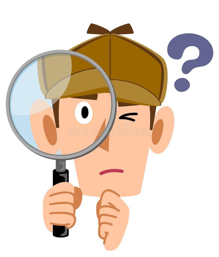 侦探面孔调查放大镜的,问题 皇族释放例证