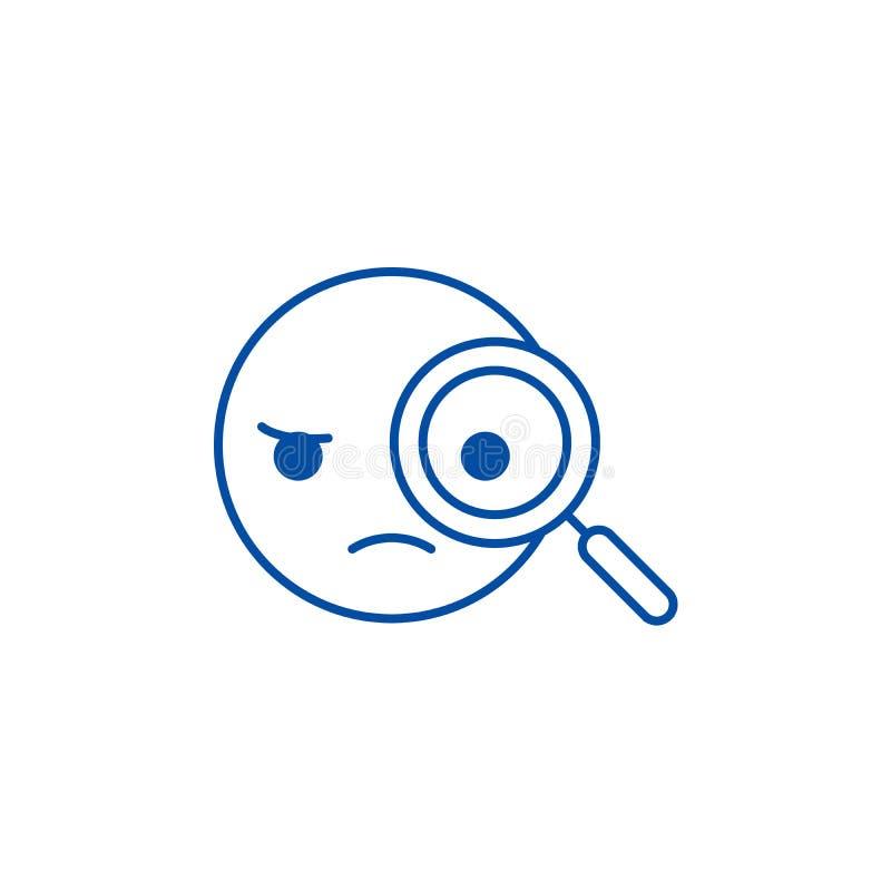 侦探emoji线象概念 侦探emoji平的传染媒介标志,标志,概述例证 向量例证