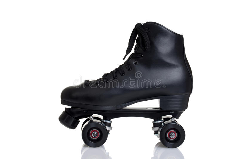侧视图人` s方形字体溜冰鞋 免版税库存照片