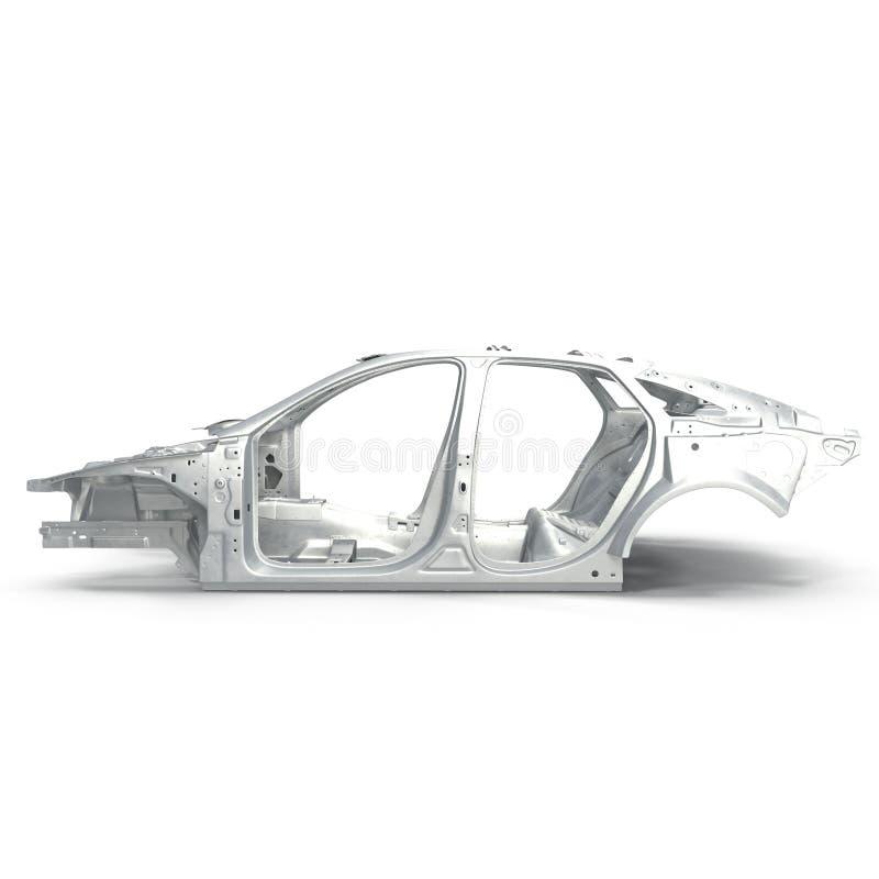 侧视图尸体af在白色的一辆轿车汽车 3d例证 皇族释放例证