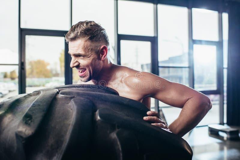 侧视图英俊的赤裸上身的运动员举的轮胎和做鬼脸 库存照片