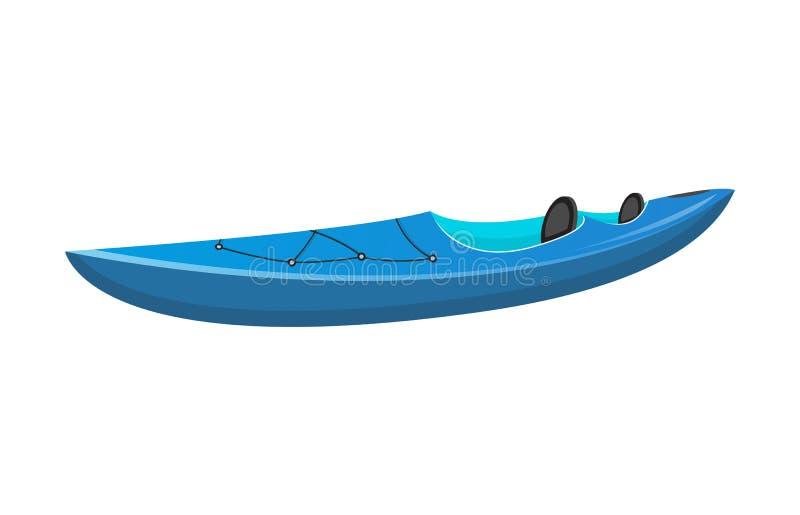 侧视图蓝色体育皮船被隔绝的象 向量例证