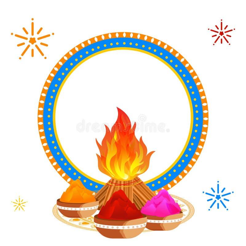侯丽节节日用篝火、碗有很多干燥颜色和空白的圆框架装饰的贺卡设计给为您 皇族释放例证
