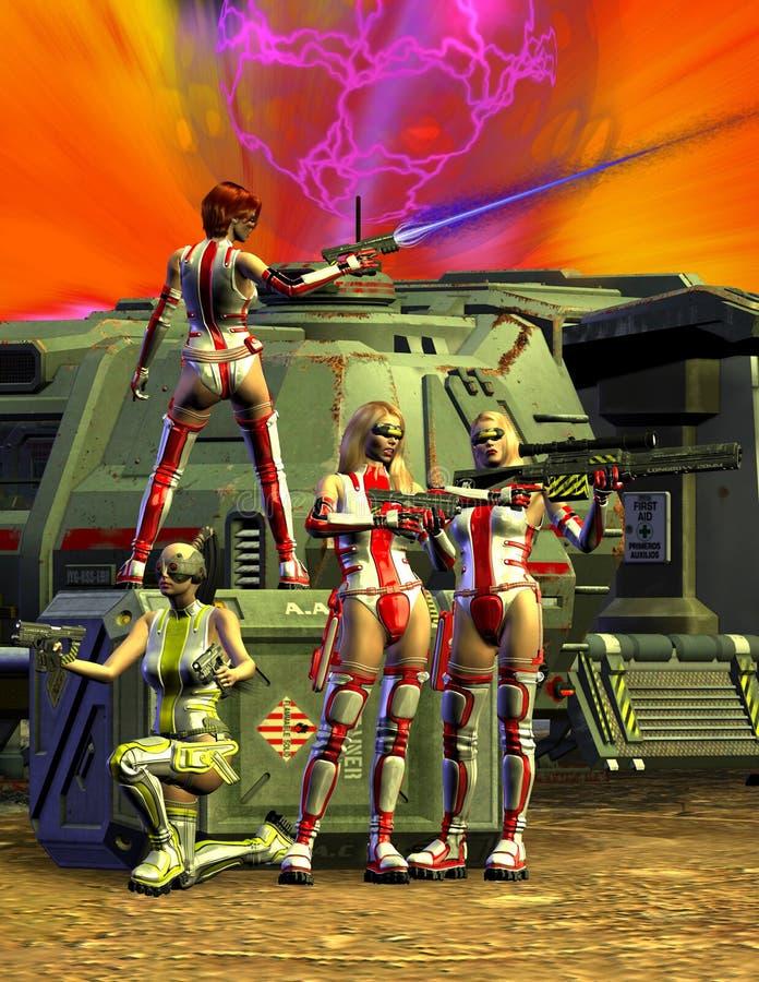 侵略与太空飞船,反对外籍人的争斗, 3d的亚马逊战士一个未知的行星例证 向量例证