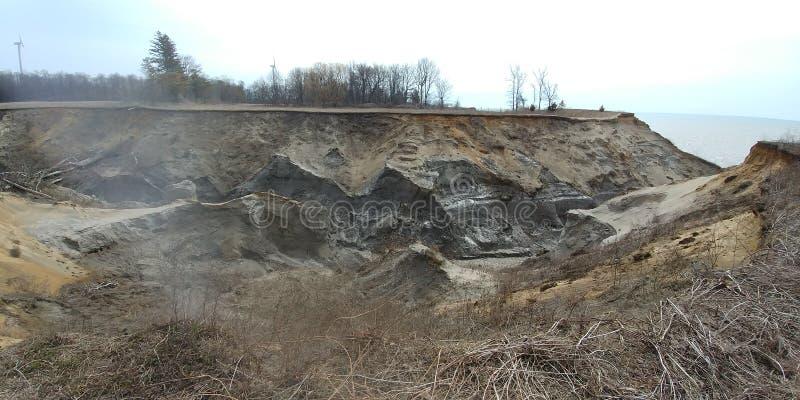 侵蚀伊利湖沙子和黏土 库存照片