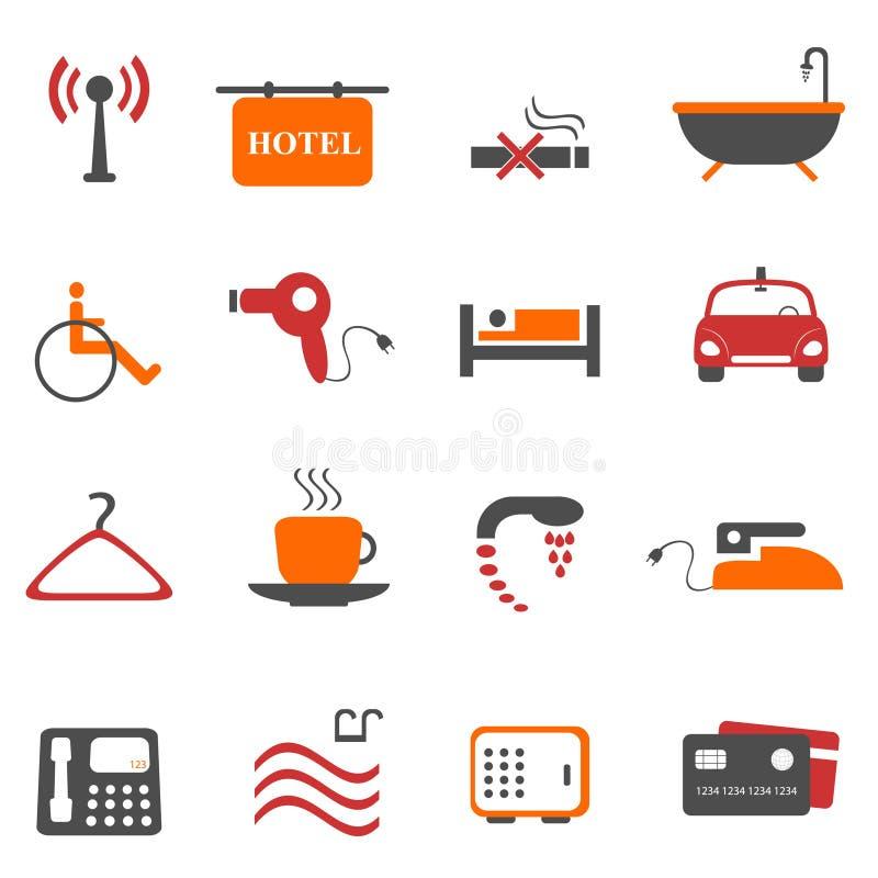 便利设施旅馆图标 库存例证