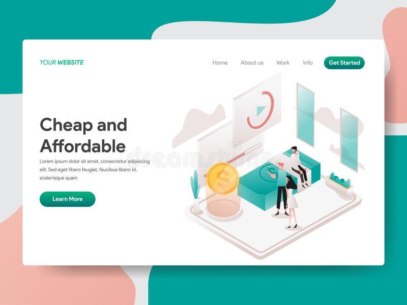 便宜和付得起的例证概念登陆的页模板  网页设计的等量设计观念网站的和 库存例证