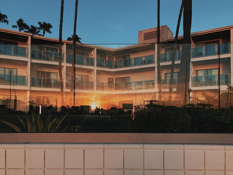 便宜的便宜的旅馆在德拉瑞码头,美国 免版税库存照片