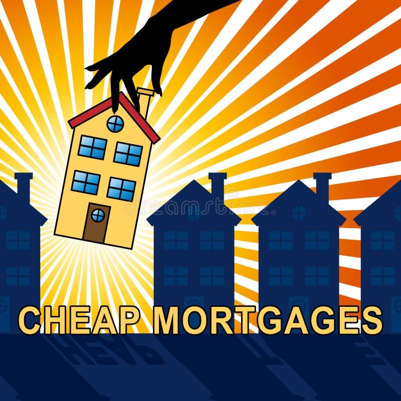 便宜的抵押意味低成本贷款3d例证 库存例证