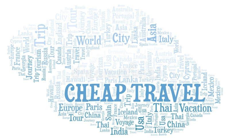 便宜的旅行词云彩 向量例证