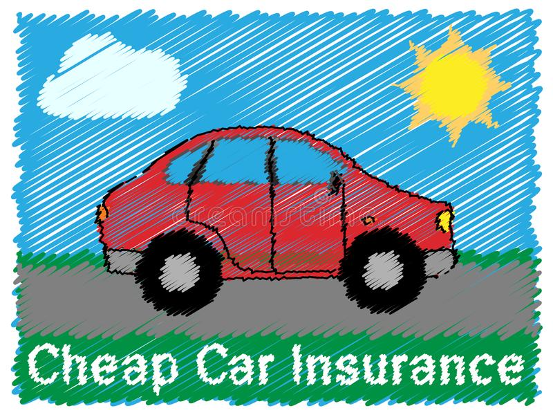 便宜的汽车保险意味自动政策3d例证 库存例证
